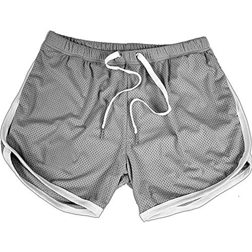 YOUQU Bermudas Hombre,Athletic Gym Training Running, Pantalones De Playa De Verano De Rendimiento Ligero De Secado Rápido, Gris, M