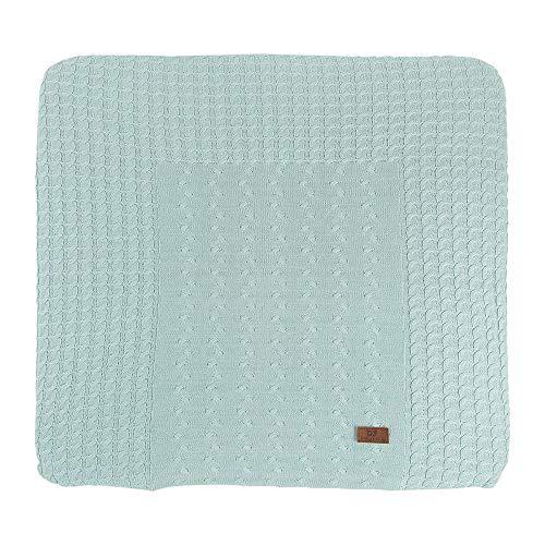 BO Baby's Only - Baby Wickelauflagenbezug Cable - Strickbezug für Wickelunterlage - Aus Baumwolle - 75x85 cm - Mint