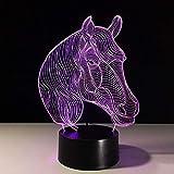 Animal caballo LED luz de noche USB multicolor animal 3D lámpara de mesa acrílico decoración multicolor