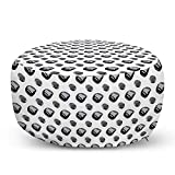 "Lunarable Grey and White Pouf Cover with Zipper, Grey Precious Mineral Stones Onyx in Symmetrical Order Geology Theme, Soft Decorative Fabric Unstuffed Case, 30"" W X 17.3"" L, Grey Black White"