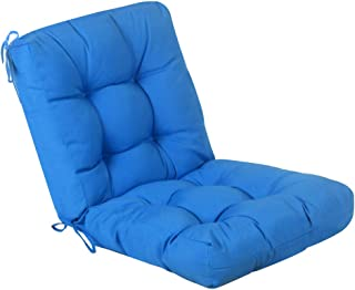 QILLOWAY Outdoor Seat/Back Chair Cushion Tufted Pillow, Spring/Summer Seasonal Replacement Cushions. (Marine Blue)