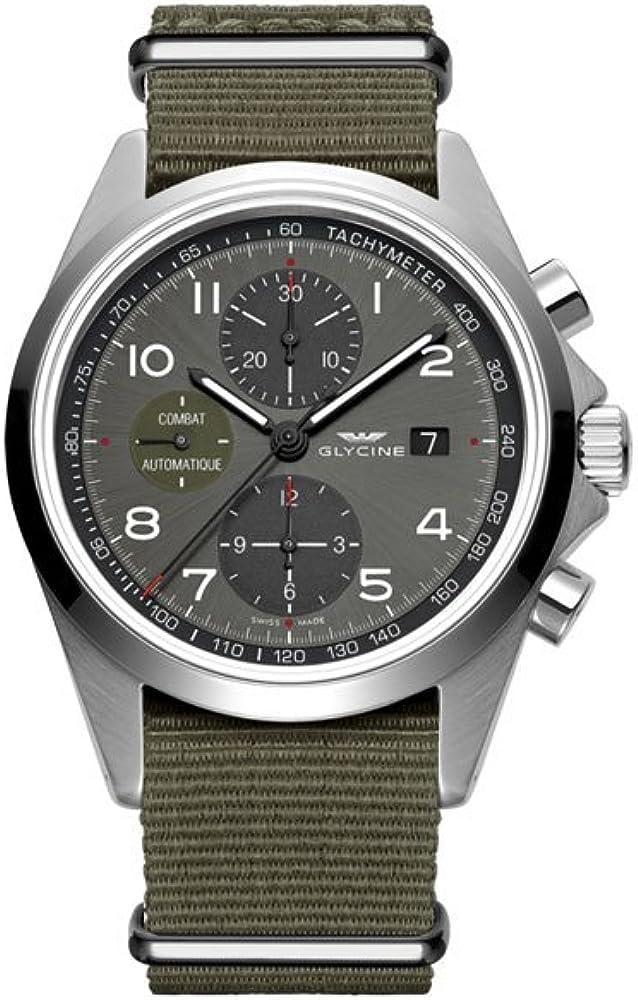 Glycine orologio uomo analogico automatico cassa argento acciaio inox. GL0099