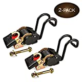 DC Cargo Mall 2 Boat Gunwale Tie Down Straps - 2 Inch x 38 Inch Retractable Trailer Straps for Boat - 833 lbs Break Strength