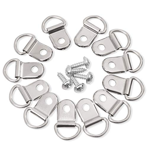 Harlington Group 80Pcs D Rings Picture Hanging Hooks Photo Frame Hangers Canvas Hook Wall Bracket Art Mirror Hanger with Screws Stainless Steel Silver