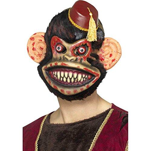 Smiffys Herren Zombie Spielaffen Maske mit Fell, One Size, Braun, 46994