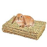 Alfombrilla de hierba para conejo, conejo, masticar, tapete de cama tejido para conejo, chinchilla, ardilla, hámster, perro y animal pequeño, 4 unidades (4 piezas)