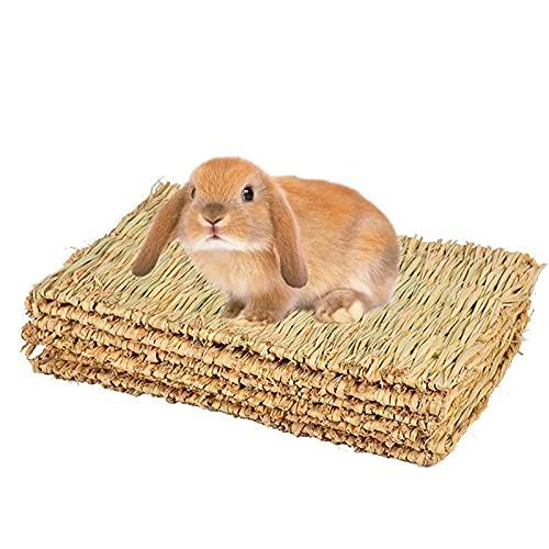 Lot de 4 tapis d'herbe pour lapin, lapin, jouets à mâcher, tapis de lit tissé pour cochon d'Inde, chinchilla, écureuil, hamster, chat, chien et petit animal