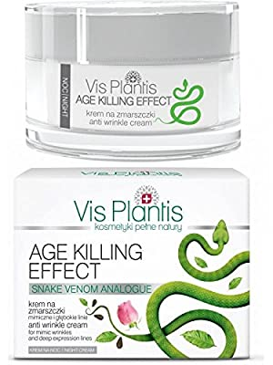 Vis Plantis AGE KILLING EFFECT Anti-Wrinkle Face Night Cream for Mimiic Wrinkle & Expression Lines with SYN-AKE Viper Venom 50ml by Vis Plantis