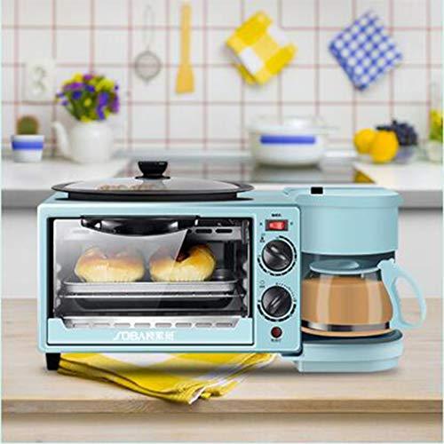 AZLLY Inicio Máquina Desayuno, Tres en Uno automática máquina de Pan Mini Horno, Estufa American Coffee, Multi Función Cocinar & Grill, Control de Temperatura Ajustable