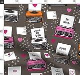 Valentinskarte, Liebe, Herz, Schreibmaschine, Rosa Stoffe -