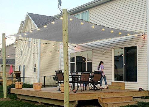 Rectangle Sun Shade Sail Canopy, 8' x 10' Patio Shade Cloth Outdoor Cover - UV Block Sunshade Fabric Awning Shelter for Pergola Backyard Garden Carport (Sand) (8' x 10' Rectangle (Grey))