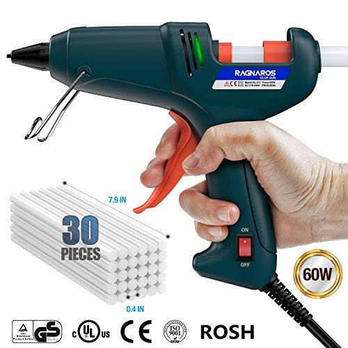 Hot Glue Gun, RAGNAROS 60W Thermostat Hot Melt Glue Gun, Rapid Preheating with PTC Heating...