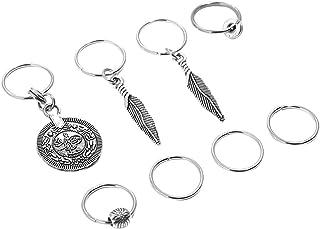 Prettyia 8 Pieces/Set Antique Silver Boho Leaf Charms Hair Braid Rings Findings Hairpin Women Hair Style DIY Clips