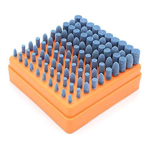 Yuhtech Punte Abrasive per Molatura, 100 Pcs Testine Multifunzione Lucidanti e Abrasive per Utensili Rotanti Dremel, Codolo da 3 mm (Blu)