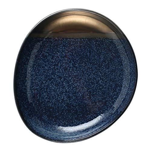 The Plate Co. YC-Plato Plato de Carne Occidental de cerámica para el hogar, Bandeja de Pastel de Dim Sum Irregular para Restaurante del Hotel (tamaño : 23x25cm)