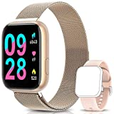 BANLVS Smartwatch Reloj Inteligente IP67 con Correa Reemplazable Pulsómetro, Monitor de Sueño, Presión Arterial, 1.4 Inch Pantalla Táctil Completa Reloj Inteligente para Mujer Hombre (Oro)