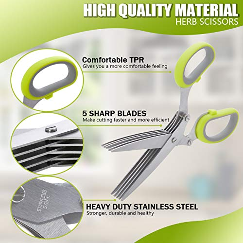 LHS Herb Scissors with 5 Multi Stainless Steel Blades and Safe Cover Kitchen Gadgets Cutter, Kitchen Chopping Shear, Mincer, Sharp Dishwasher Safe Kitchen Gadget, Culinary Cutter