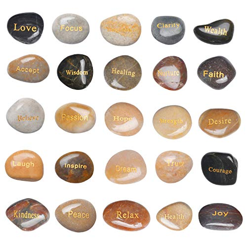 Milkary 25PCS Engraved Rocks Inspirational Stones with Different Words of Encouragement, Gifts Prayer Stones Zen Chakra Gratitude Rocks Palm Pocket Motivation Rock Worry Affirmation Hope Believe Stone