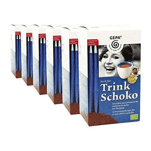 GEPA bio & fair Trink Schoko - Trinkschokoladen-Sticks, 10 x 25 g, 6er Pack