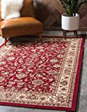 Unique Loom Kashan Collection Traditional Floral Overall Pattern with Border Burgundy Area Rug (6' 0 x 9' 0)