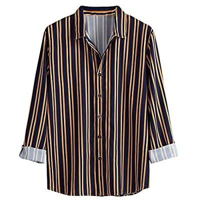 Mens Stripe Shirt Loose Fit Blouse Long Sleeve Casual T-Shirt Beach Yoga Tops by perfectCOCO