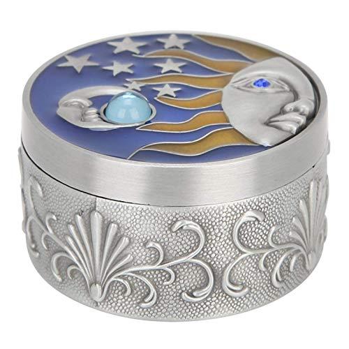Caja de regalo Caja de almacenamiento portátil a prueba de polvo, Collar de anillo de pendiente a prueba de óxido de decoración vintage para baratija (borde de hojalata)