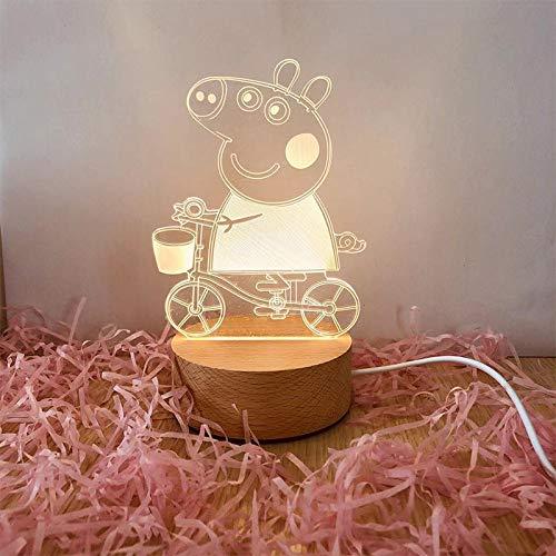Kreative nachtlicht led massivholz 3D tischlampe high-end Boutique elektronische Geschenke großhandel Fahrrad Seite monochrom USB (4 Watt)