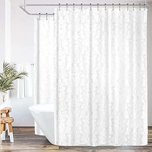 Riyidecor White Floral Damask All Around Shower Curtain Set
