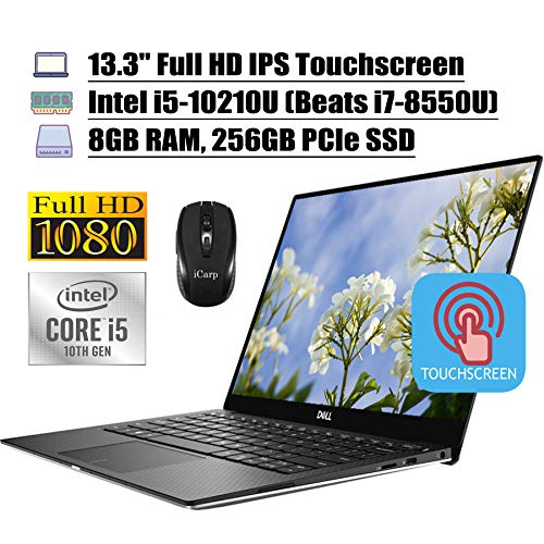 2020 Newest Dell XPS 13 7390 Laptop Computer 13.3' FHD IPS Touchscreen Intel Quad-Core i5-10210U (Beats i7-8550U) 8GB DDR4 256GB PCIe SSD Backlit KB FP MaxxAudio Win 10 + iCarp Wireless Mouse