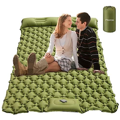 Colchoneta de dormir para camping, camping con almohada para 2 personas, impermeable, duradera, autoinflable, ultraligera, portátil, plegable, doble para tiendas de campaña, coche, camping, senderismo