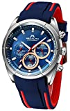 MEGALITH Reloj Hombre Azul Cronografo Reloj Esfera Grande Hombre Deportivo Analógico Reloj de Pulsera de Goma Impermeable Luminosa