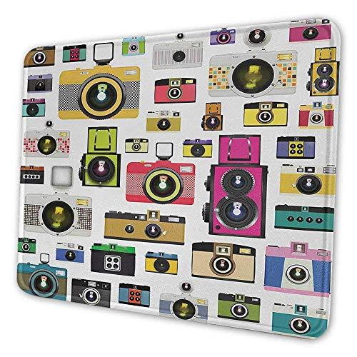 Vintage niedliche Mauspad Vintage altmodische Fotokameras Kunstvolles Hobby Studio Grafik Dekoratives Design Mauspad für Männer Lustige Mehrfarben