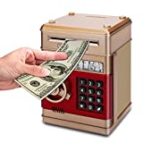 Adsoner Cartoon Piggy Bank, Electronic ATM Password Cash Coin Can Auto Scroll Paper Money Saving Box Gift for Kids (Gold)