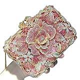 WSNDY Bolso de Noche Bolso de Noche para Mujeres Elegantes Bolsos de Embrague Cristal Bolsos Flores Rosas Bolso de Boda (Color : Pink, Size : S)