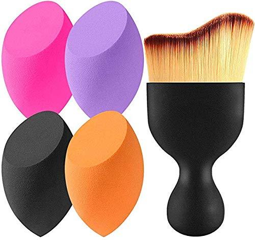 EONO Essential 4+1 Pcs éponges de maquillage Sans Latex, hypoallergénique et sans odeur et Brosse contour, pour le fond de teint, la lotion, la crème et la poudre,