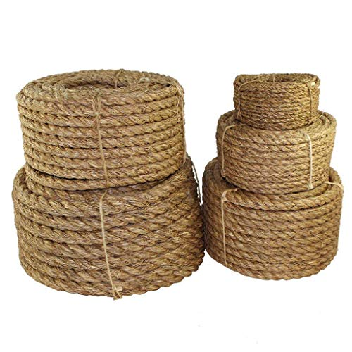 SGT KNOTS Twisted Manila Rope - Natural 3 Strand Fiber for Indoor and Outdoor Use (1/4