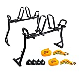 AA-Racks Model X35 Truck Rack with 8 Non-Drilling C-Clamps and 2 Sets Double Folding Kayak J-Racks with Ratchet Lashing Straps & Bow and Stern Tie Down Straps