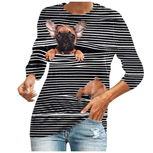 QUNIMA YK2 - Camiseta de manga larga para mujer, cuello redondo, informal, con banda en la parte trasera