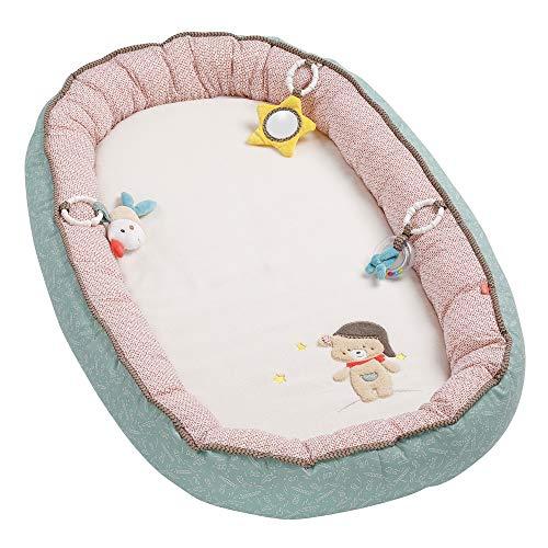 Fehn 060621 Kuschelnest Bruno / Kuscheliges Nestchen mit 3 abnehmbaren Spielzeugen für optimalen Komfort beim Kuscheln & Spielen – für Babys und Kleinkinder ab 0+ Monaten