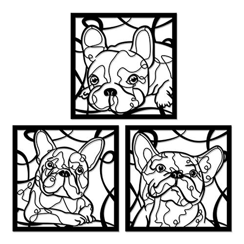 Kreative Arts Cute French Bulldog Metal Wall Art Set of 3 Home Decor Dog Mom Gifts Living Room, Bedroom or Nursery Decor Indoor and Outdoor Each Size 20x20inch