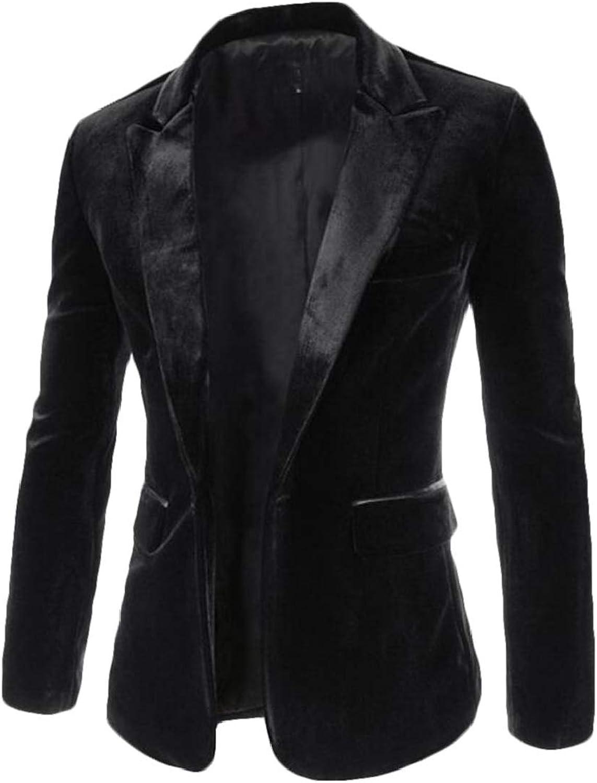 BU2H Men Solid Slim Fit Peaked Lapel 1 Button Velvet Blazer Jackets
