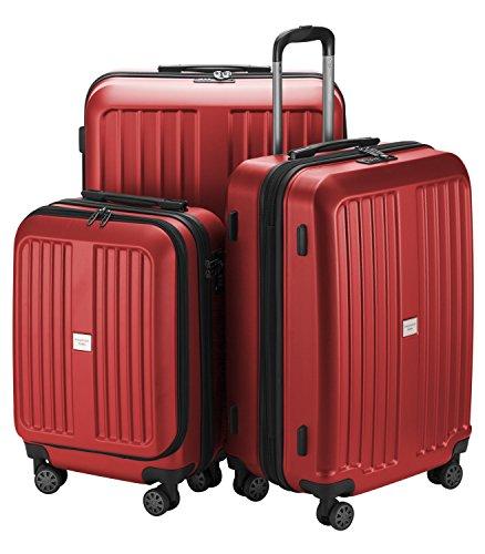 Hauptstadtkoffer - X-Berg - 3er Koffer-Set Hartschalen-Koffer Koffer Trolley Rollkoffer Reisekoffer, TSA, (S, M & L) Rot matt