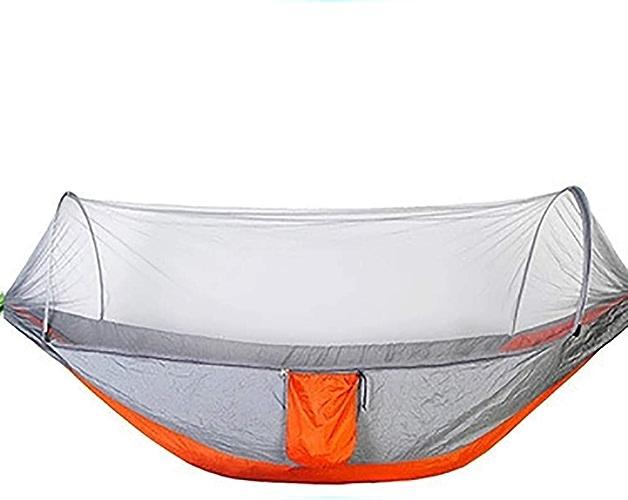 OOFAYHD Hamac extérieur à Ouverture Rapide avec Compte Anti-moustiques extérieur en Nylon Double Parachute de Camping en Toile de Camping hamac Anti-Moustique adapté pour la randonnée,F