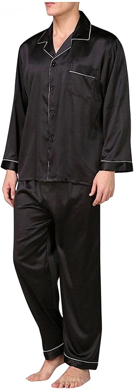 VEKDONE Silk Pajamas for Men Classic Satin Long Sleeve Button-Down Pajama Set Two-Piece Sleepwear Loungewear Pj Sets