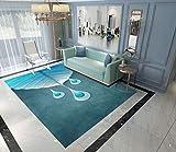 Alfombra moderna rectangular grande para dormitorio, sala de estar, gota de agua azul, 160 x 230 cm