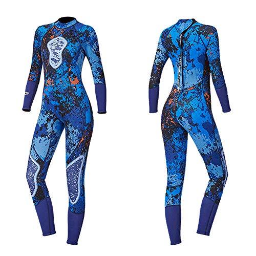 EDW 3Mm Full Neoprenanzug Camouflage für Frauen, Tauchen Surfen Kajak Kanu Jetski Segeln Wassersport Neopren Körperanzüge, UV-geschützt, warm halten, dehnbar bequem,L