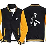 Männer Pullover Jacke - Bruce Lee Printed Sweatshirt Baseball-Trikot Langarm-Zip Trainingsjacken - Teen Gift Black Yellow-XXL