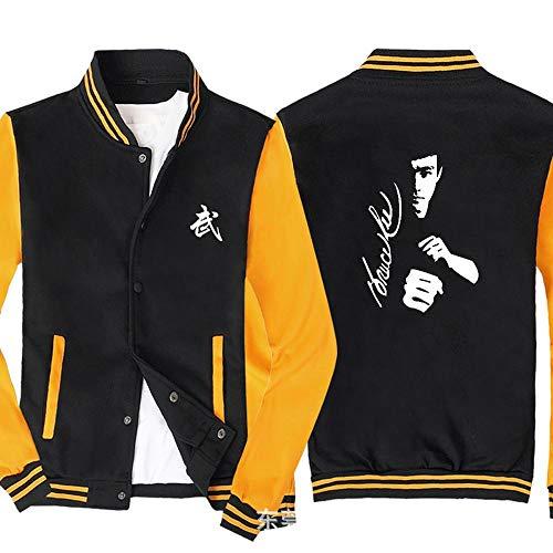 Männer Pullover Jacke - Bruce Lee Printed Sweatshirt Baseball-Trikot Langarm-Zip Trainingsjacken - Teen Gift Black Yellow-XXXL