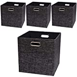 Posprica Storage Cubes,13×13 Storage Bins,Foldable Fabric Drawers Baskets Containers for Shelf Cabinet Bookcase,Thick and Heavy Duty (4pcs, Black)
