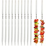 JOHOUSE Stainless Steel Barbecue Skewers, 11.5 inch 50PCS Stainless Steel Shish Kebob Sticks Flat Stainless Steel BBQ Set with Holder, for Meat Shrimp Chicken Vegetable Wide Reusable